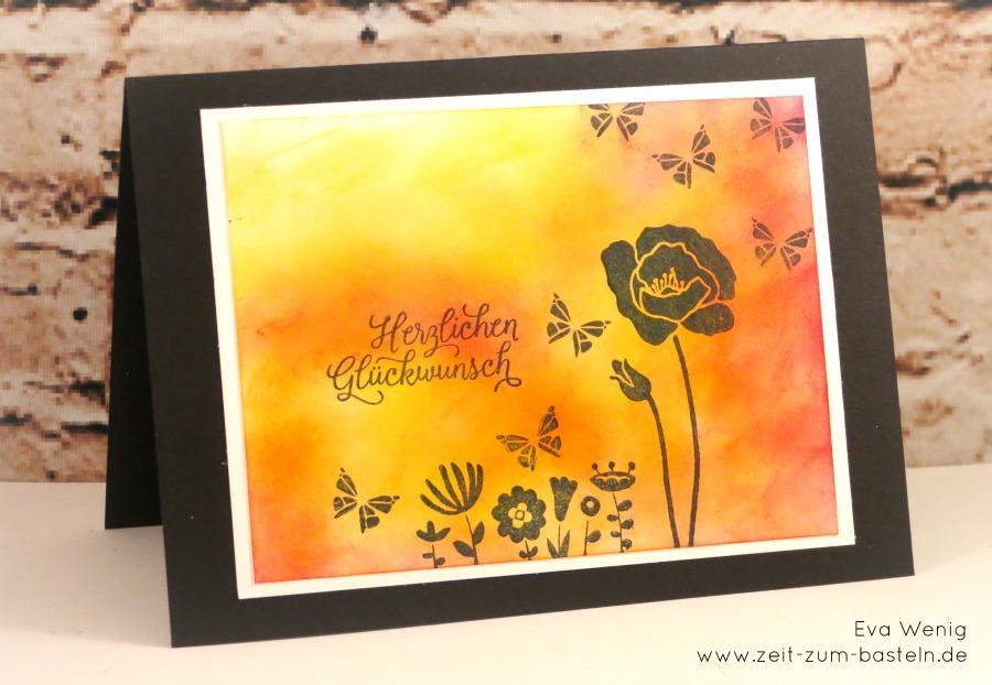 Flirty Flowers - Karte mit Schattenblumen und gewischtem Hintergrund