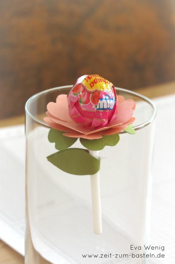 Blumenlutscher mit der Stanze Stiefmütterchen, Willkommensgruß, Tischgeschenk