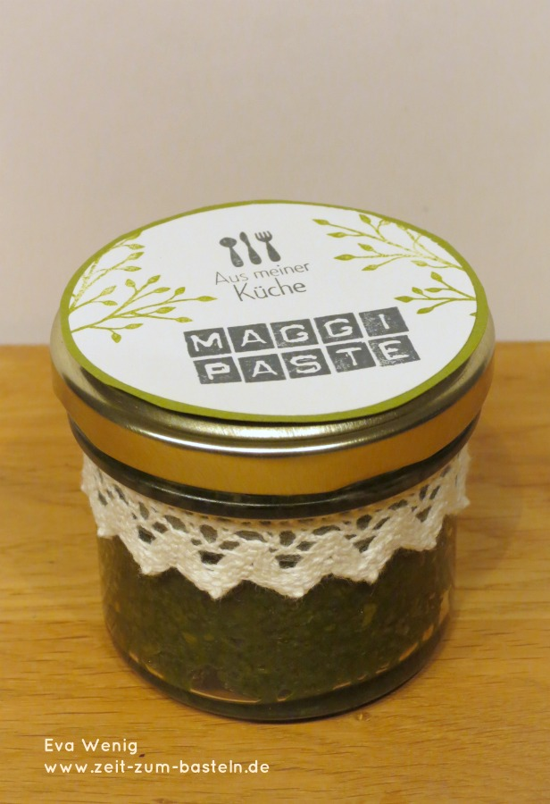 Maggi-Paste mit schönem Ettikett und Rezept
