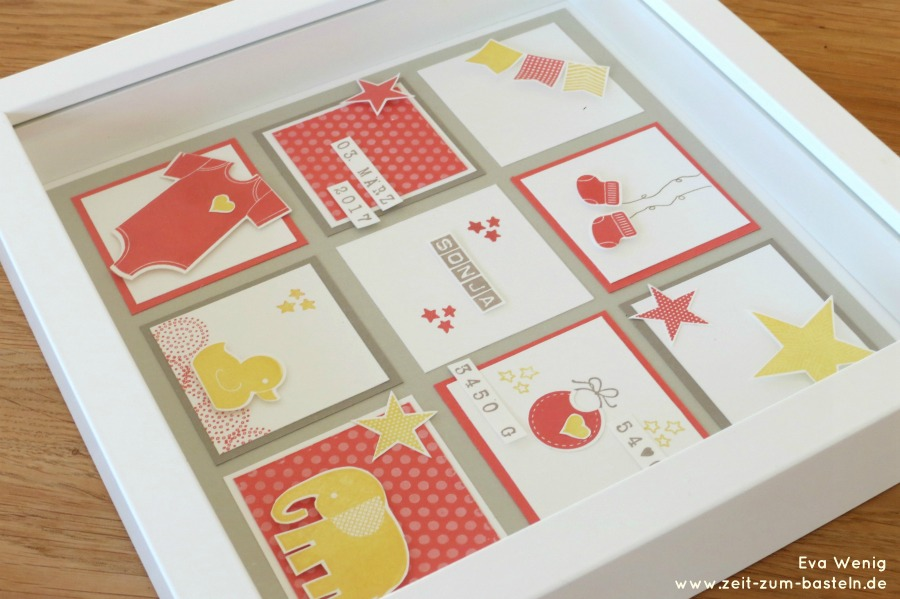 www.zeit-zum-basteln.de - RIBBA Bilderrahmen gestaltet zur Geburt- Baby-Collage -Stampin up