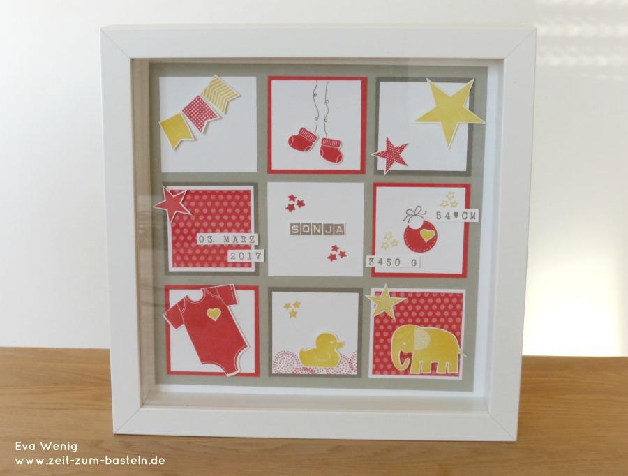 RIBBA Bilderrahmen gestaltet zur Geburt- Baby-Collage -Stampin up