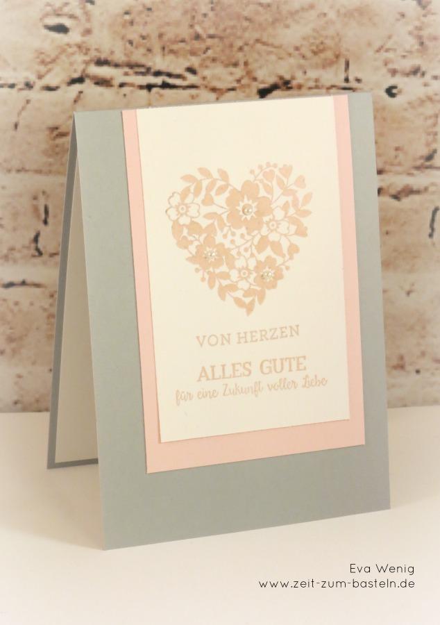 www.zeit-zum-basteln.de - Hochzeitskarte in der Farbkombi schiefergrau, zartrosa, flüsterweiss - Blüten der Liebe Stampin Up