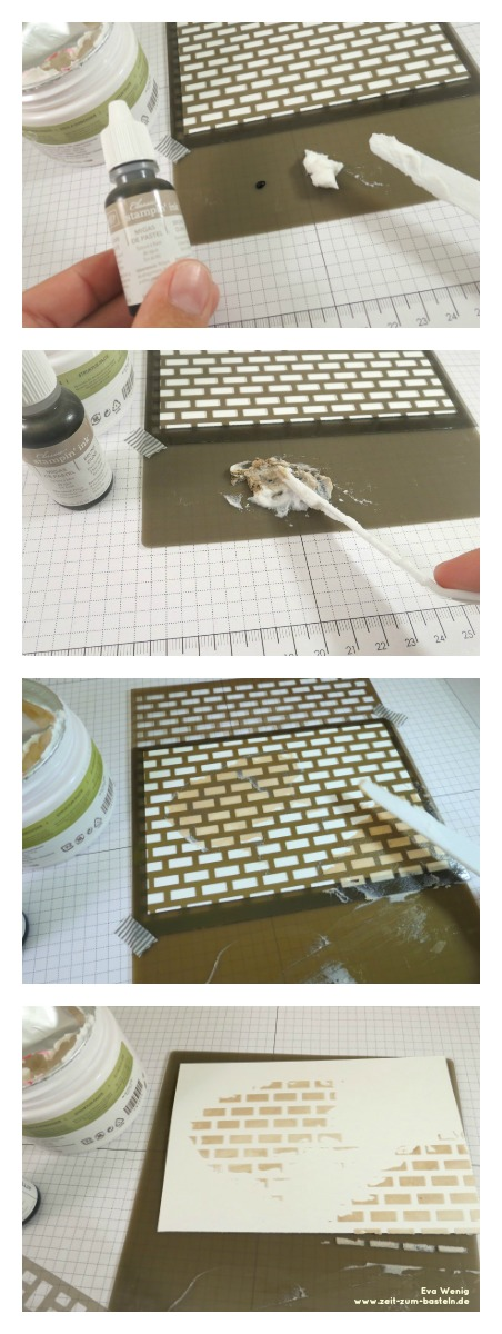 www.zeit-zum-basteln.de - Stempeln ABC - Masken und Strukturpaste Stampin up - Färben mit Nachfülltinte