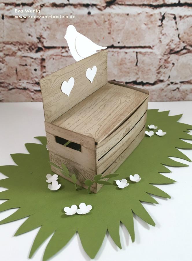www.zeit-zum-basteln.de - Parkbank für Liebende zur Hochzeit - Framelits Holzkiste (Stampin Up)