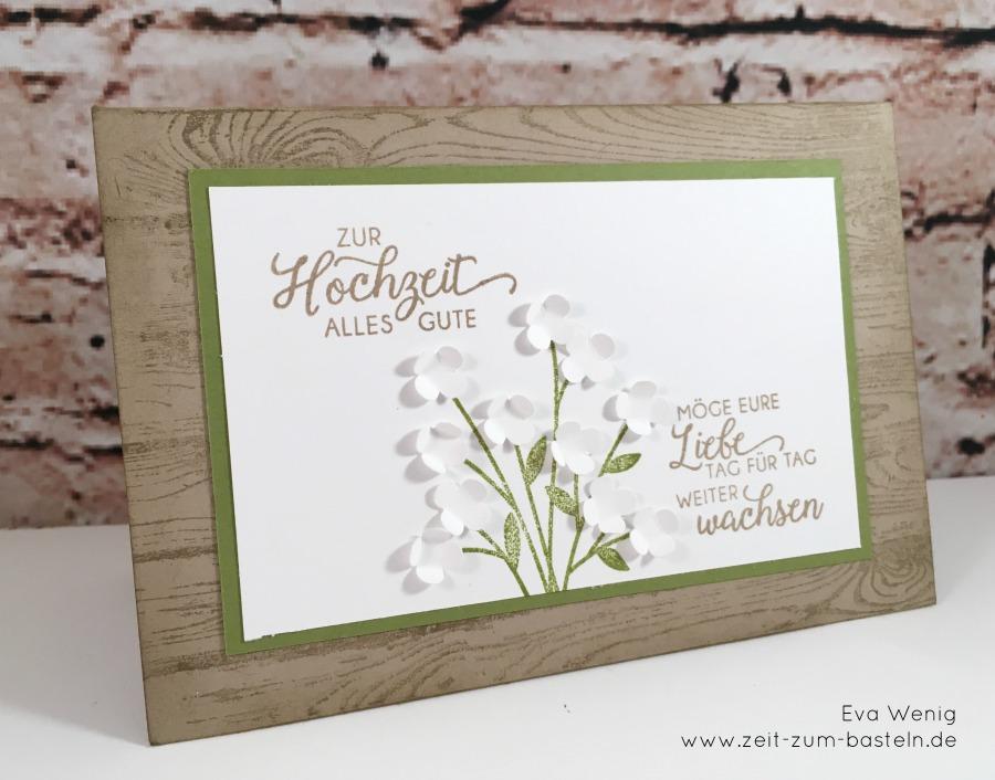 www.zeit-zum-basteln.de - Karte zur Hochzeit mit einem weißen Blumenstrauß - Blüten des Augenblicks (Stampin Up)