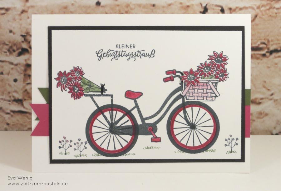 www.zeit-zum-basteln.de - Karte mit Geburtstagsblumenstrauß auf dem Fahrrad (Stampin Up Bike Ride)
