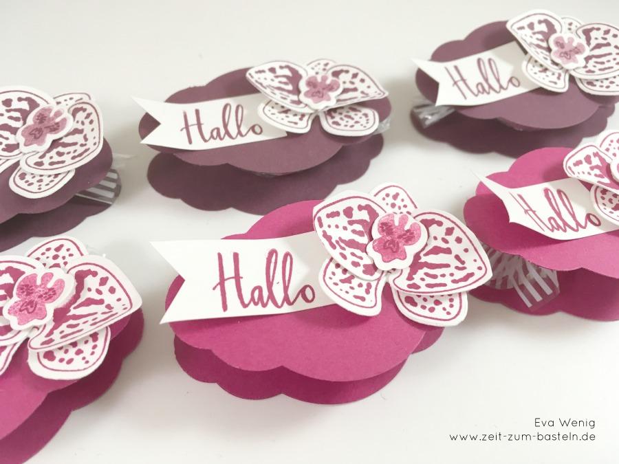 www.zeit-zum-basteln.de - Tisch Goodies mit der Stanze Zier-Etikett und einer Orchidee (Stampin Up)