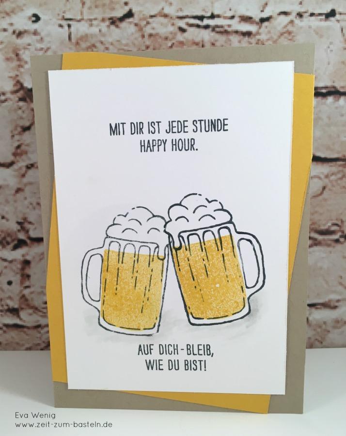 www.zeit-zum-basteln.de - Männerkarte mit Bier - Spiegeltechnik Stampin Up