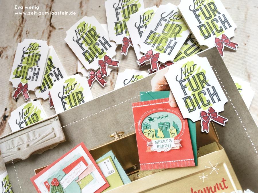 www.zeit-zum-basteln.de - Weihnachtliche Lesezeichen mit dem Etiketten-Stanzer (Stampin Up)