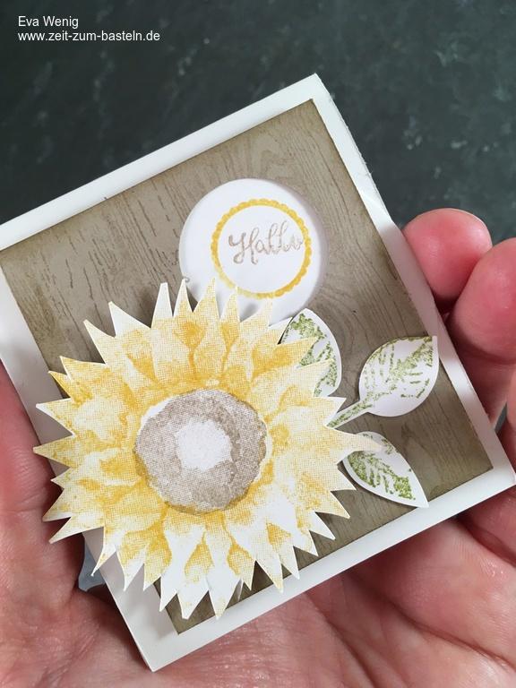 Interaktive Verpackung mit Dreheffekt - Herbstlich mit Sonnenblume (Hardwood, Herbstanfang, Kurz gefasst - Stampin UP) -www.zeit-zum-basteln.de