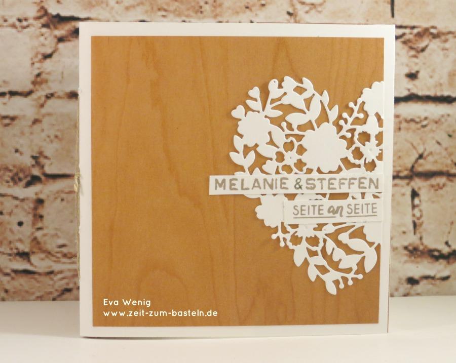 Karte und Minialbum zur Hochzeit (Stampin Up Holzdekor und Blühendes Herz) - www.zeit-zum-basteln.de