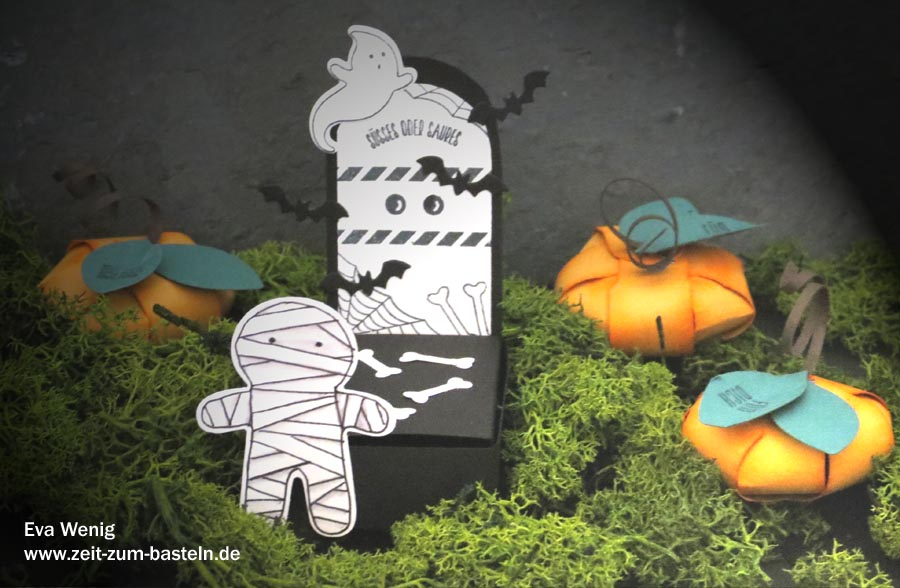 Papier-Deko für Halloween - Mumie, Grab und Kürbisse - (Stampin Up - Ein Haus für alle Fälle) - www.zeit-zum-basteln.de