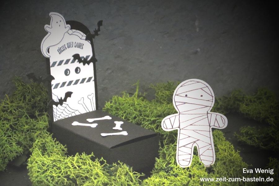 Papier-Deko für Halloween - Mumie & Grab - (Stampin Up - Ein Haus für alle Fälle) - www.zeit-zum-basteln.de
