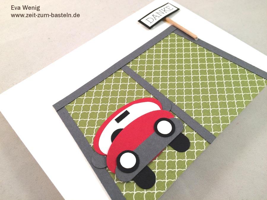 Karte als Dankeschön für unseren Parkplatz - www.zeit-zum-basteln.de