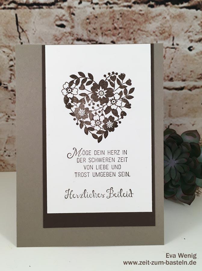 Trauerkarte mit 'Blüten der Liebe' & 'Blühende Worte' von Stampin up - www.zeit-zum-basteln.de