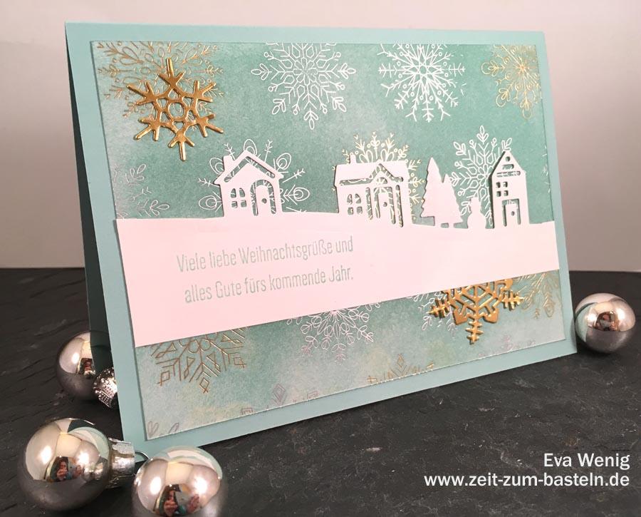 Winterliche Karte mit gefärbtem Designerpapier - Anleitung für diese Technik auf www.zeit-zum-basteln.de (Stampin Up Winterfreuden)