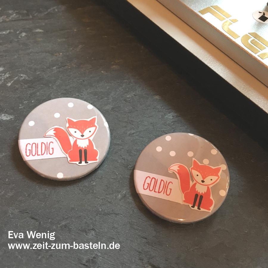 süße Buttons für Kinder mit Fuchs - Stampin up - www.zeit-zum-basteln.de