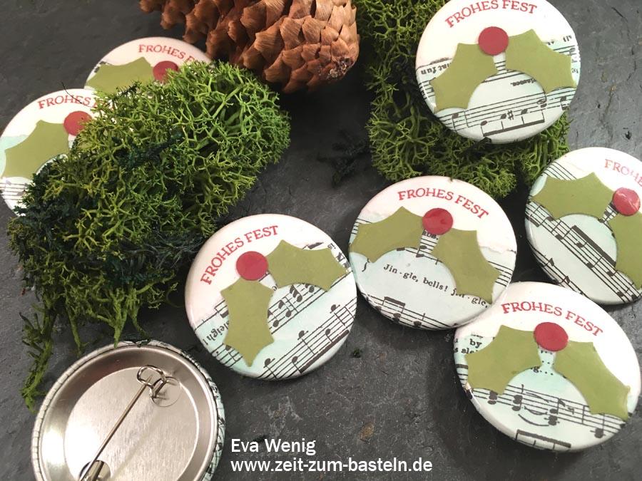 weihnachtliche Buttons/ Badges - Stampin up - www.zeit-zum-basteln.de