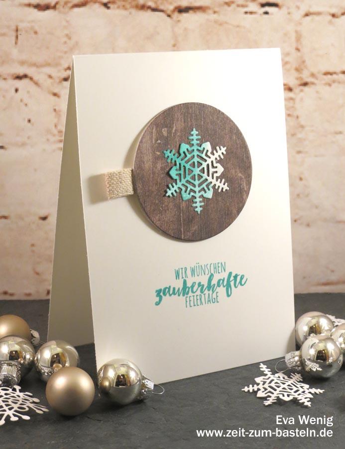 Winterliches Kartenset mit Schneeflocken aus 'Aus jeder Jahreszeit' Stampin Up - www.zeit-zum-basteln.de