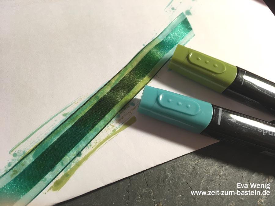 Meine 5 liebsten Techniken mit Stampin Blends - Färben von Bändern - Stampin Up - www.zeit-zum-basteln.de