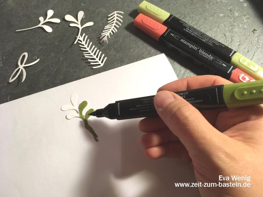 Meine 5 liebsten Techniken mit Stampin Blends - Färben von Stanzteilen - Stampin Up - www.zeit-zum-basteln.de