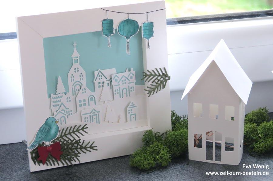 Winterlicher 3D Rahmen aus Papier - Stampin Up Winterstädtchen & Tannen und Zapfen, Farbenfroh - www.zeit-zum-basteln.de