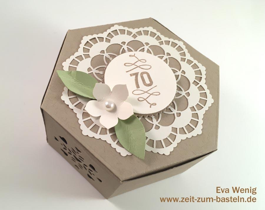 Vintage Geschenkset zum 70sten Geburtstag - Karte und Schachtel zum runden Geburtstag - Stampin Up Fensterschachtel - www.zeit-zum-basteln.de