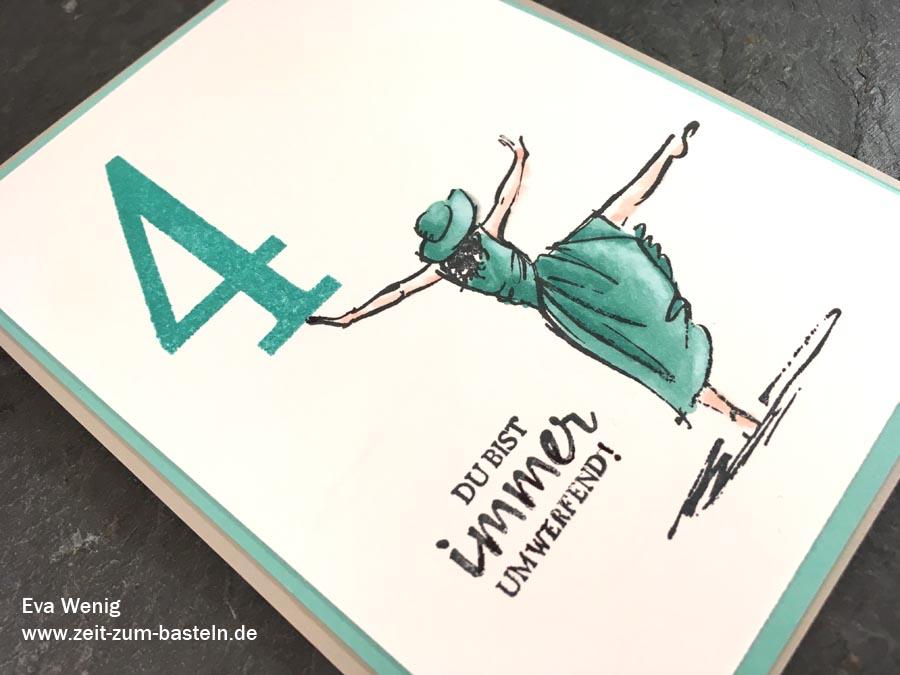 Karte zum 4ten Jubliäum - Stampin Up (Mit Stil, Stampin Blends) - www.zeit-zum-basteln.de