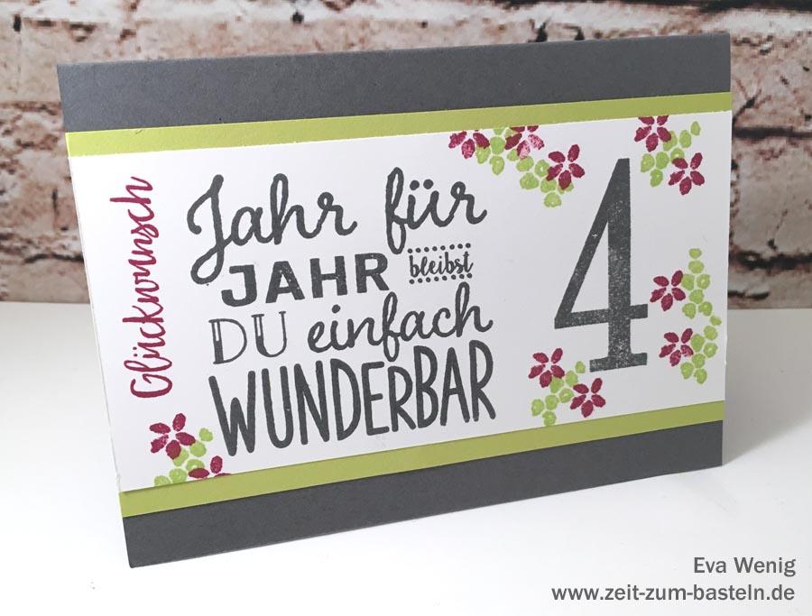 Karte zum 4ten Jubliäum - Stampin Up (Zum Geburtstag, So viele Jahre) - www.zeit-zum-basteln.de