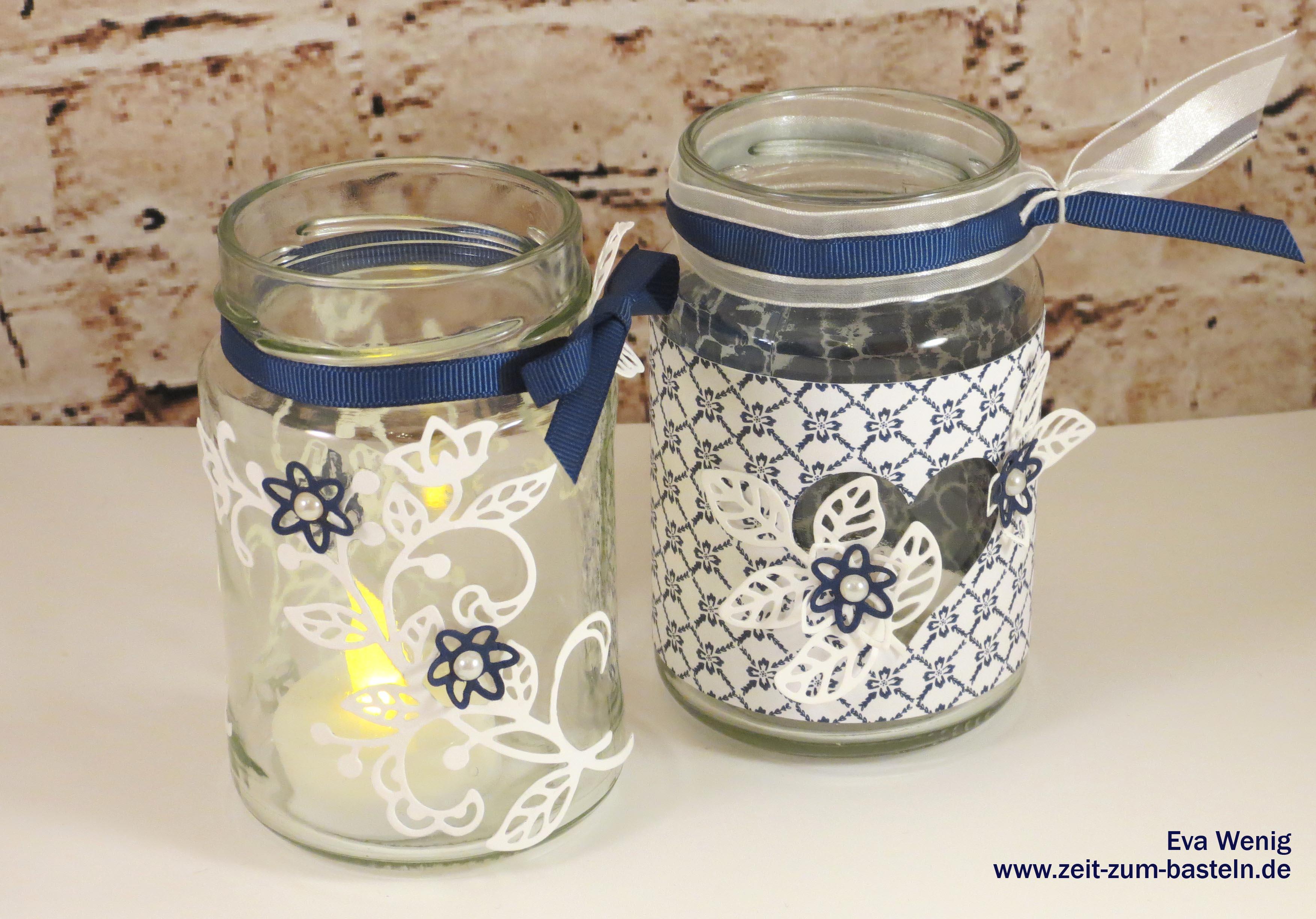 Lichterdeko aus Joghurtgläsern mit Stanzteilen aus der BigShot oder mit Designerpapier -Stampin Up - www.zeit-zum-basteln.de