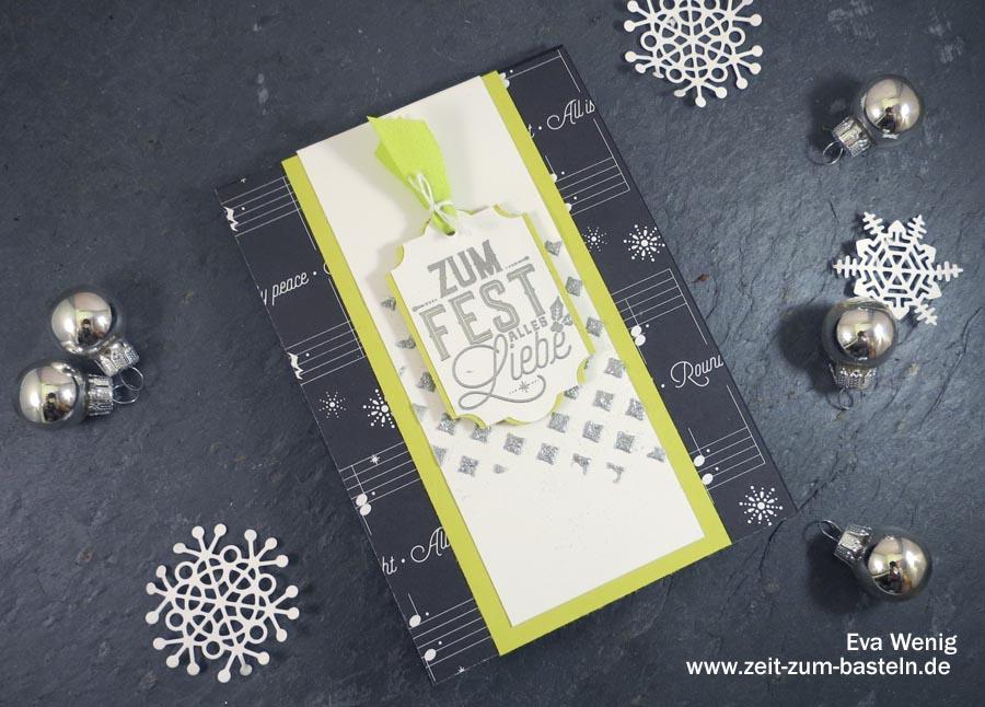 Weihnachtliche Karte mit Strukturpaste und Embossingpulver - Stampin Up (Weihnachtliche Etiketten) - www.zeit-zum-basteln.de