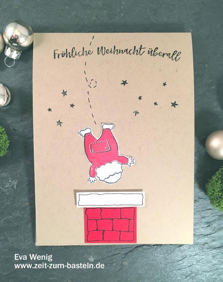 Santa auf dem Weg zu Dir! - Schnelle Weihnachtskarte mit Santas Suit und Weihnachten daheim - Stampin up - www.zeit-zum-basteln.de