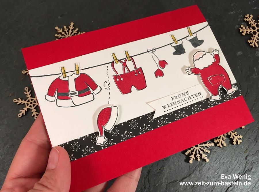 Fröhliche Weihnachtskarte 'Jetzt aber schnell anziehen' - Stampin up - www.zeit-zum-basteln.de