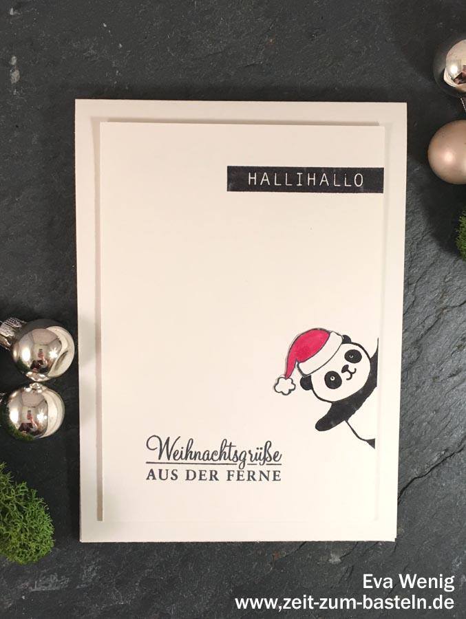 Weihnachtskarten mit Party-Pandas - (Stampin up) - www.zeit-zum-basteln.de