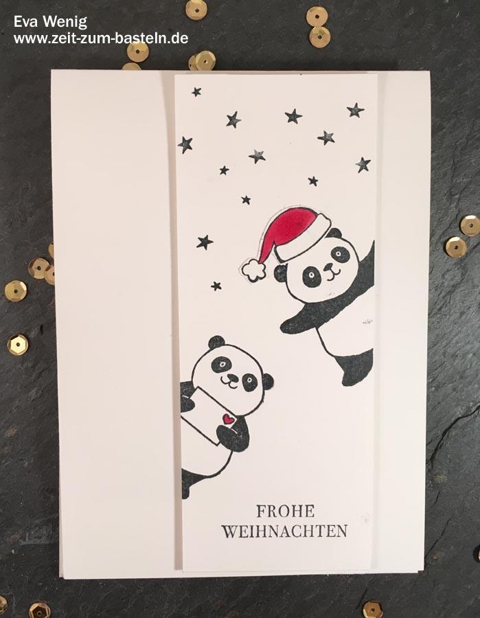 Weihnachtskarte mit Party-Pandas - (Stampin up) - www.zeit-zum-basteln.de