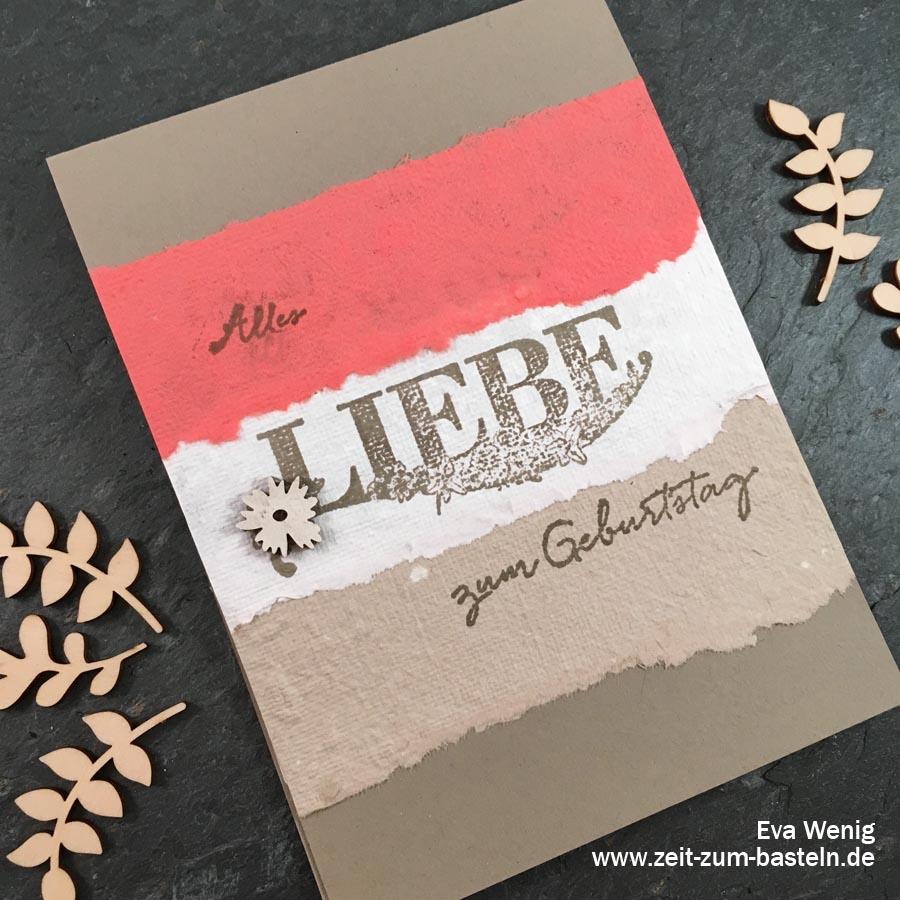 Karte mit handgschöpften Papier in Stampin Up Farben und dem Set Beste Wünsche - Die Anleitung findest Du hier! - www.zeit-zum-basteln.de