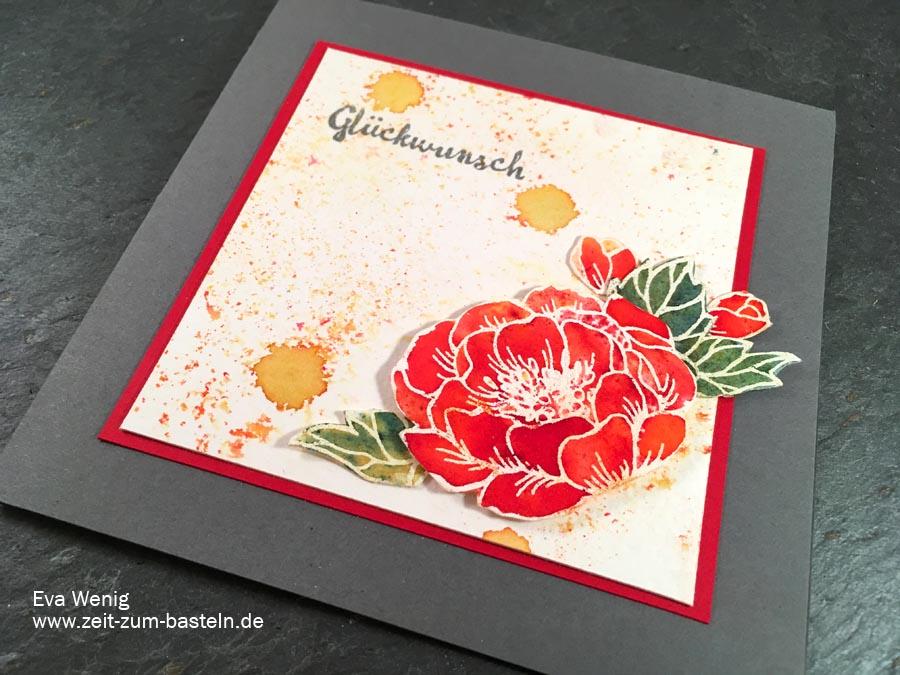Glückwunschkarte mit einer strahlenden Blume - koloriert mit Brushos - Stampin Up - www.zeit-zum-basteln.de
