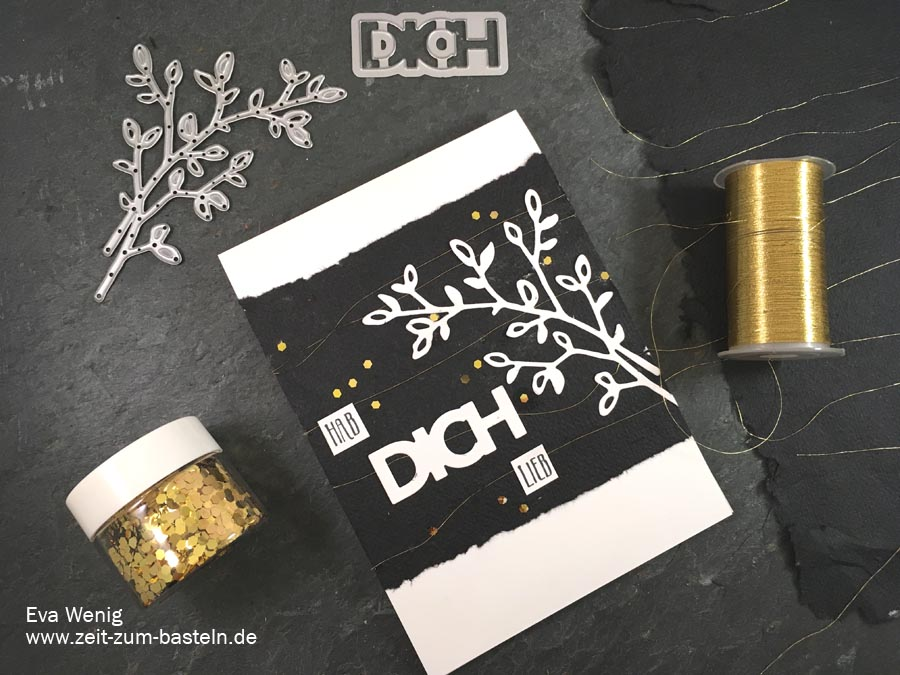 Schwarz-weiß-gold Karte mit handgeschöpftem Papier und Thinlits von Stampin up - www.zeit-zum-basteln.de