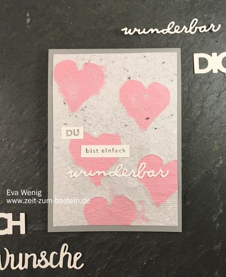Karte zum Valentinstag oder Muttertag mit handgeschöpften Papier und Einfach wunderbar von Stampin Up - www.zeit-zum-basteln.de