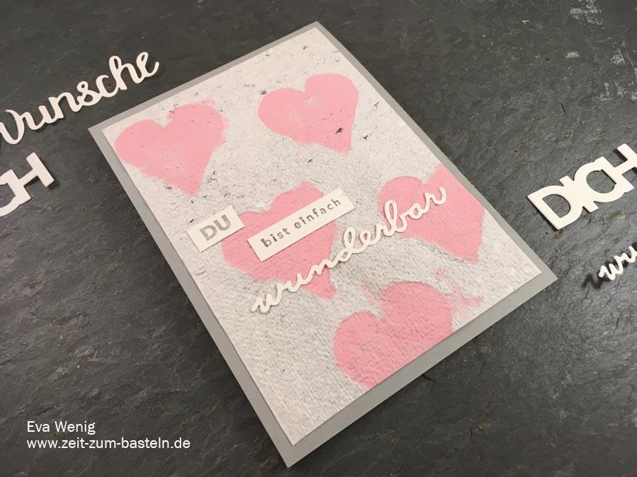 Karte zum Valentinstag oder Muttertag mit handgeschöpften Papier und Sale-a-bration Artikeln von SU - www.zeit-zum-basteln.de