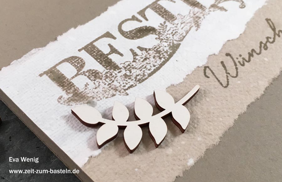 Karte mit handgeschöpftes Papier in Stampin Up Farben & Beste Wünsche - die beste Art Reste zu verbrauchen! - www.zeit-zum-basteln.de