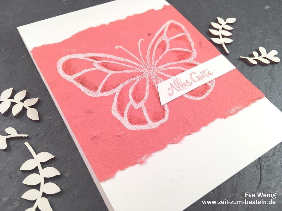 Karte mit handgeschöpftes Papier in Stampin Up Farben & Wunderbarer Tag - die beste Art Reste zu verbrauchen! - www.zeit-zum-basteln.de