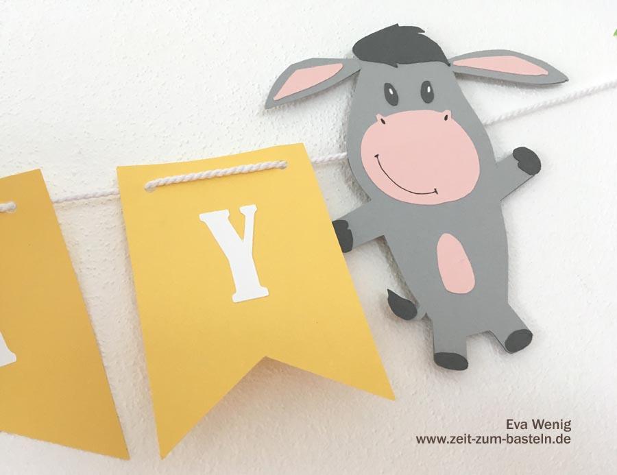 Meine Deko zum Kindergeburtstag mit dem Esel von Rossmann - selbstgeplottet - www.zeit-zum-basteln.de