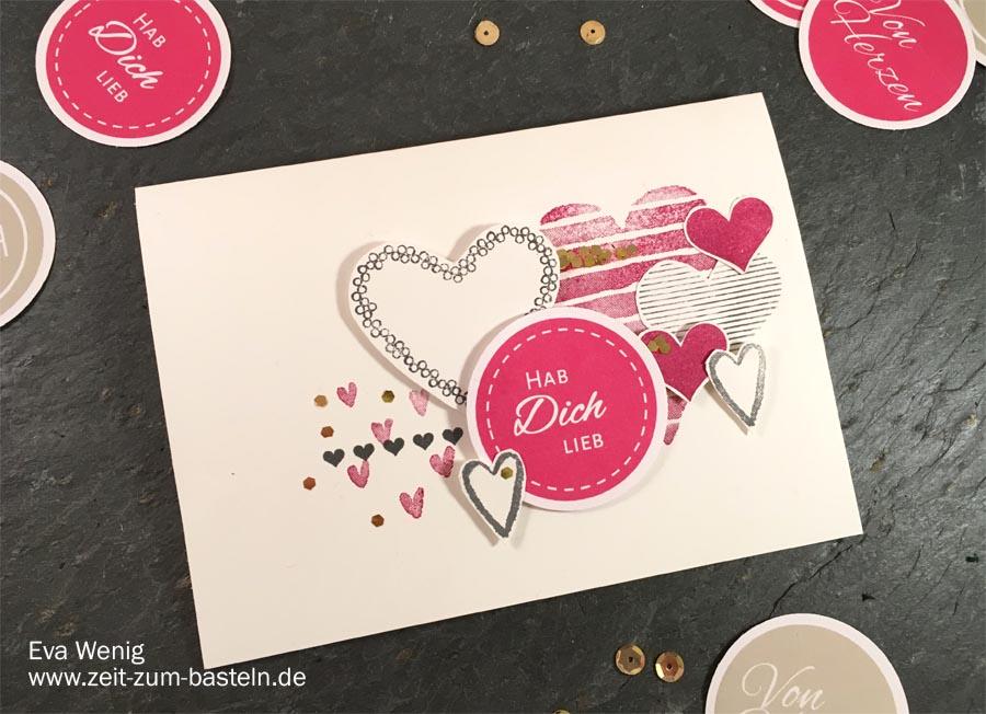 Freebie zum Valentinstag mit einem Set aus Karte & Verpackung und dem Set 'Heart Happiness' - Stampin Up - www.zeit-zum-basteln.de