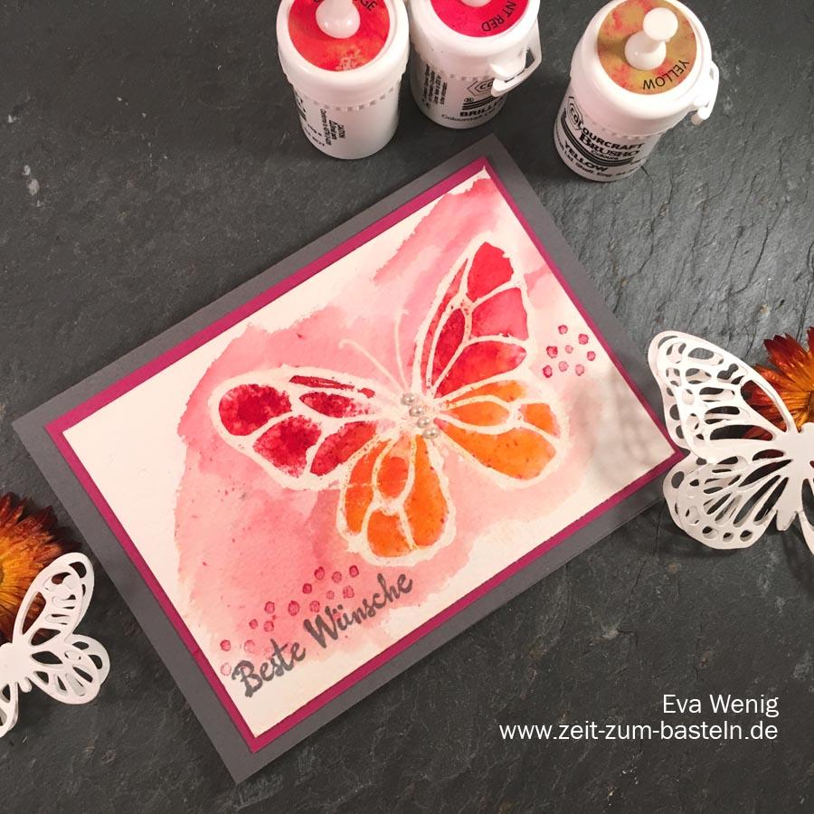 Schmetterlingskarte mit Brushos & der Resist-Technik - Wunderbarer Tag (Stampin Up) www.zeit-zum-basteln.de