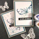 Schmetterlinge in Farbpigmenten