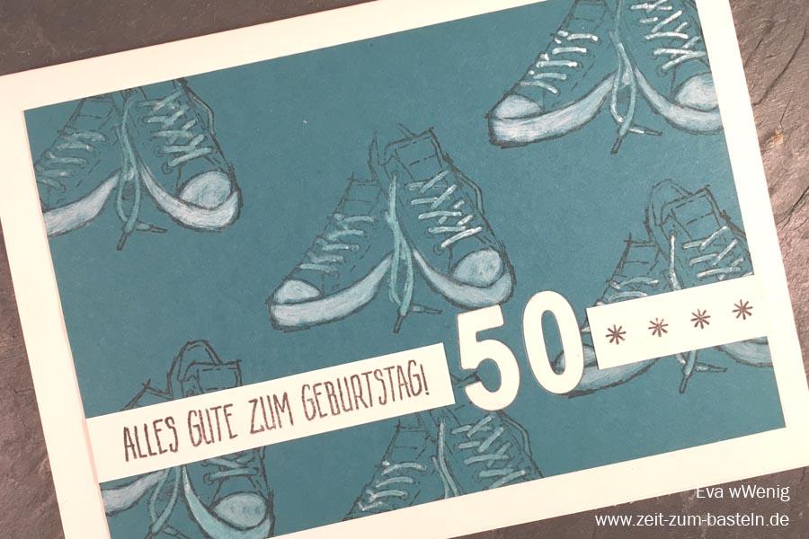Runder Geburtstag - Karte zum 50sten Geburtstag für einen Mann - (Stampin Up, Echt cool) - www.zeit-zum-basteln.de