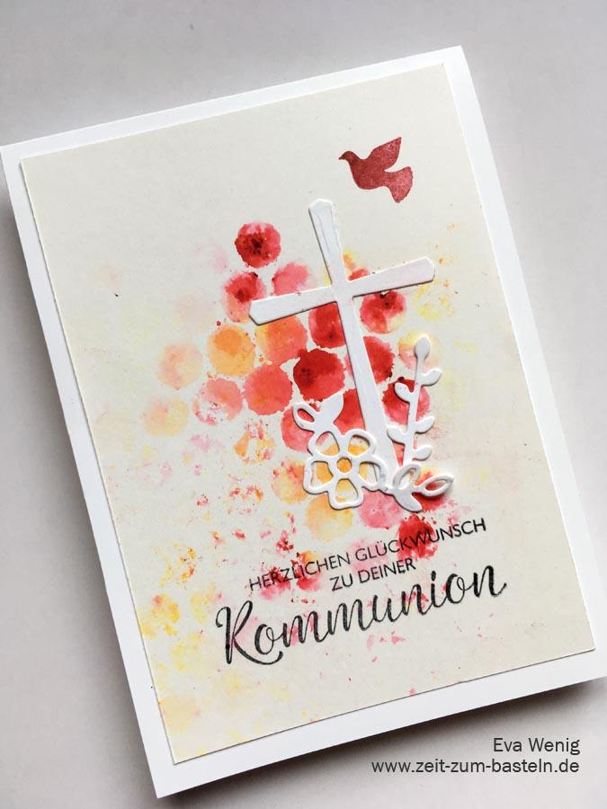 Kommunionskarte für Mädchen mit der bubble wrap Technik - Stampin Up Segenswünsche - www.zeit-zum-basteln.de