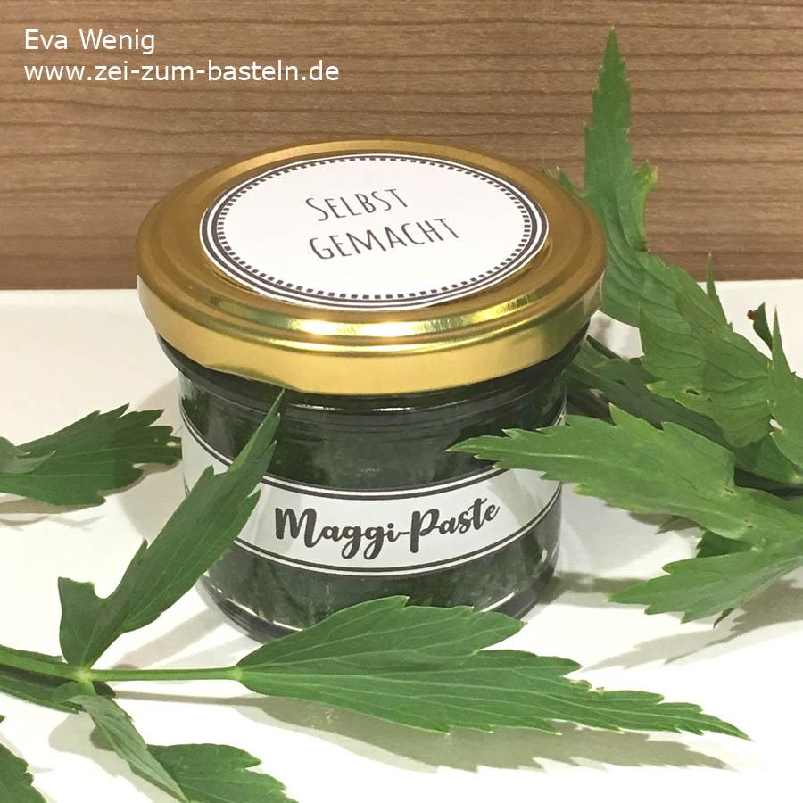 Maggi-Paste aus dem eigenen Garten - Rezept & Freebie Etiketten - www.zeit-zum-basteln.de