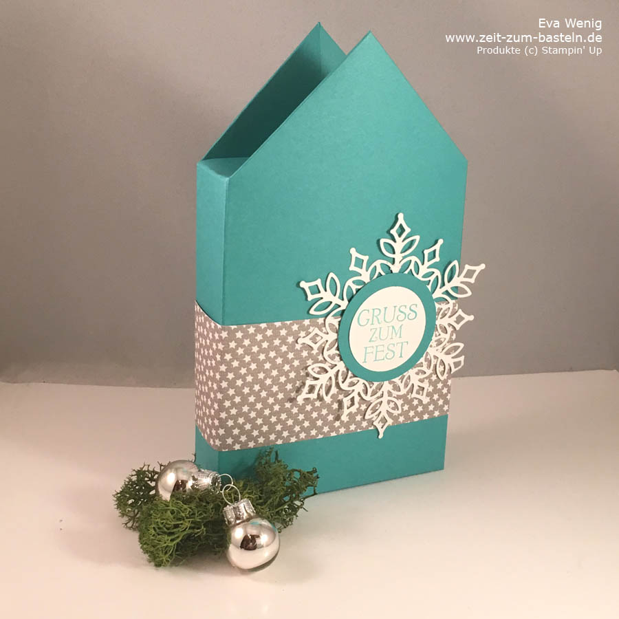 Winterliche Hausbox - schnell, einfach, selbstschließend (Stampin Up) - www.zeit-zum-basteln.de